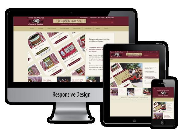 site e-commerce responsive design ferme des mouliots gers